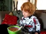 Ginger Boy Gets A Surprise When Eating His Cereal