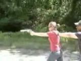 Girl Fails At Shooting Huge Pistol