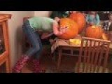 Girl Gets Head Stuck In Pumpkin