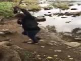 Girl On Rope Swing Makes A Splash