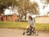 Girl Successfully Pedals On Unicycle