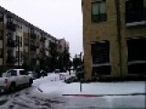 Giant Slabs Of Ice Fall Off Of A Texas Apartment Building Onto Parked Cars