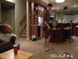 Guy Juggles Ping-Pong Ball With Three Golf Clubs
