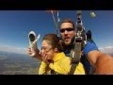 Girl Loses Shoe During Skydive, Shoe Hits Instructor In Face, Girl Catches Shoe In Mid Air
