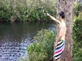 Guy On Rope Swing Kicks Girl