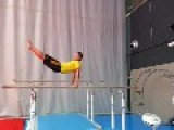 Gymnast Falls On Parallel Bars