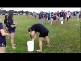 Girl Knocks Bucket Full Of Water Over
