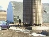 Guy Tries To Demo Silo With Sledgehammer