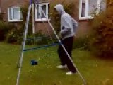 Grown Man Plays On Child's Swing
