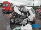 Head-on Collision Between A Truck And A Car