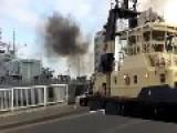 HMS Lancaster - Accident