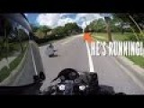 Hit & Run - MOTORCYCLE CHASES IDIOT DRIVER
