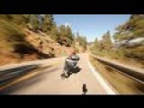 High Speed Skateboarding Down A Steep Canyon Road