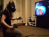 Husband Films Wife Playing Virtual Reality