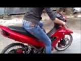 Hot Girl First Time Riding A Motorcycle,She Broke Her Arms
