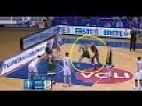 Hooligan Knocked Down By Basketball Player After Pitch Invasion