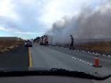 Hay Truck Fire