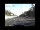 Highway Multi Car Accident Caught On A Dash Cam. Truck Rollover