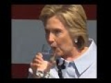 Hillary Clinton Coughs Up Green Sputem Aborted Alien Fetus Into Her Glass