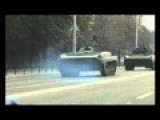 Heavy Armored Novorossiya Self Defense Column Rolling Through Makeevka