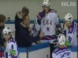 Hockey Fight 3:00min - Barys Astana Kazakhstan - BLUE Vs. SKA St. Petersburg Russia - WHITE