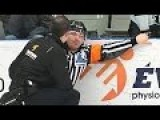 Hockey Ref Gets Hit In Nuts With Beer