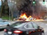 HELICOPTER CRASH IN SEATTLE HD Burning Wreckage And Cars - MARCH 18, 2014