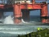 Heavy Winds Blow Scottish Oil Rig To Shore