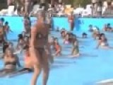 Hot Drunk Girl Dancing Like Chicken On Swimming Pool