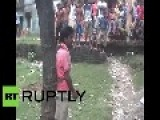 India Suspected Molester Tied To Tree And Beaten By Woman