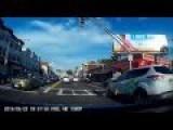Idiot Attempts To Run Through Traffic