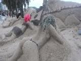 Interesting Sand Sculpture In Rio