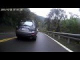 Idiot On A Motorcycle Trying To Overtake Mitsubishi On The Right Side