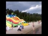 Inflatable Water Slide Goes On A Rampage