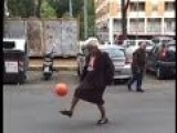 Italian Granny Shows Off Her Keep Up Football Skills