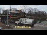 Industrial Vacuum Truck Smashes Into The 11 Foot 8 Inch Bridge