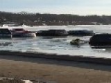 Ice Parking Lot Collapse Leaves Vehicles Submerged In Wisconsin