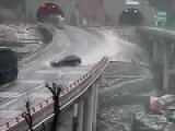 Japanese Highway CCTV Captures Slip And Slides