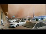 Just In 2 Minutes, A Dust Storm Turns The City From The Bright Daylight Into Darkness. Al-Qassim, Saudi Arabia