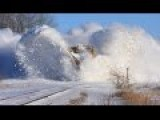 Japanese Train Plowing Deep Snow