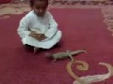 Kid Playing With A Lizzard Gets A Big Surprise At The End