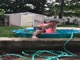 Kid Falls Off Slide At Kiddie Pool