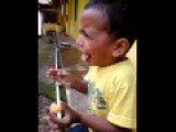 Kids Funny Expression When He Tasted Sour