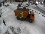 KamAZ Vehicle Crashes Into Post