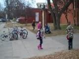 Kindergarten Kid Riding Motorcycle To School