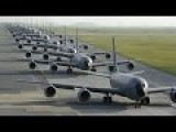 KC-135 Stratotankers Filled With Millions $ Of Kerosene Taking Off To Refuel B-52 Bombers In The Sky