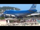 KLM Jumbo Jet Boeing 747 BLAST Throws People In To The Sunset Beach In St Maarten