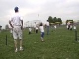Kid Hits Ball Into Man's Nuts