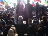 Luhansk - Ukraine, Pro Russian'n Protesters, Raising The Flag Of Russia On The Monument To Lenin
