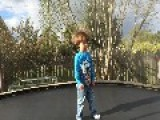 Little Boy Plays In Trampoline Full Of Static Electricity